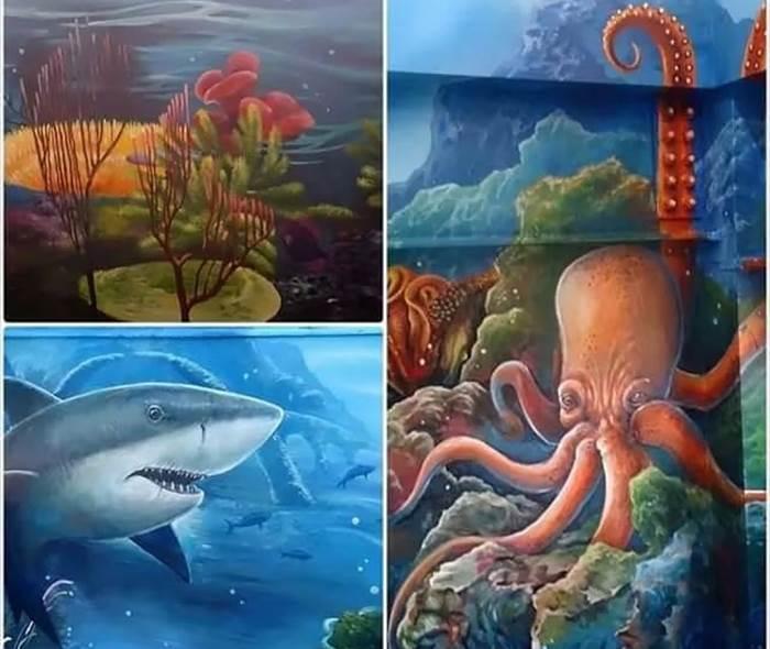室内景观 : 【大型3d海底世界大壁画】 & 【大型海底世界景观水族箱