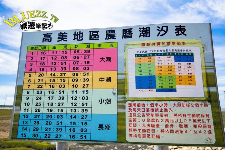 高美地區農曆潮汐表